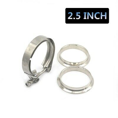 $ CDN21.76 • Buy 2.5  Stainless Steel V-Band Flange &Clamp Kit Male/Female Turbo Exhaust Downpipe