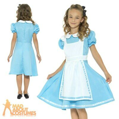 Girls Alice Princess Costume Wonderland Kids Book Week Day In Fancy Dress Outfit • 12.49£