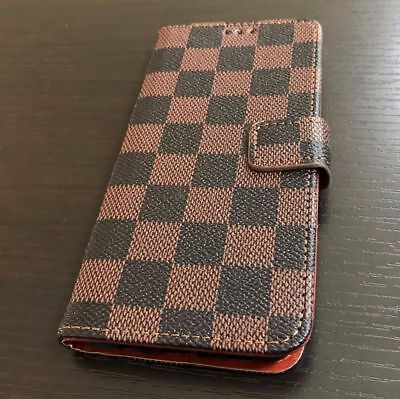 $ CDN11.93 • Buy Samsung Galaxy Note 8 - Card Wallet Diary Pouch Case Cover Brown Checker Plaid