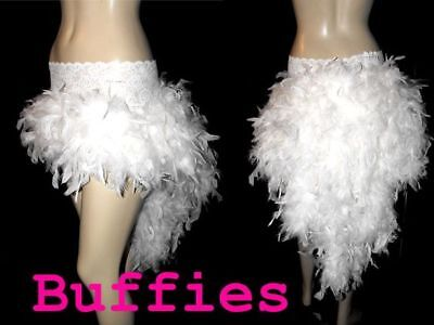 White Long Feather Waterfall Bustle Skirt Gothic Steampunk Burlesque -plus Size • 39£