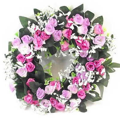 £5.95 • Buy Artificial / Silk Flower Wreath Pink And Lilac Rosebuds And Gyp Grave / Memorial