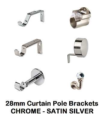 Curtain Pole Brackets To Fit 28mm Diameter Poles, Various Styles & Tiebacks.. • 9.99£