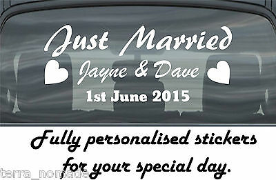 Just Married Wedding Day Car Window Banner Sticker Personalised Sign • 5.99£
