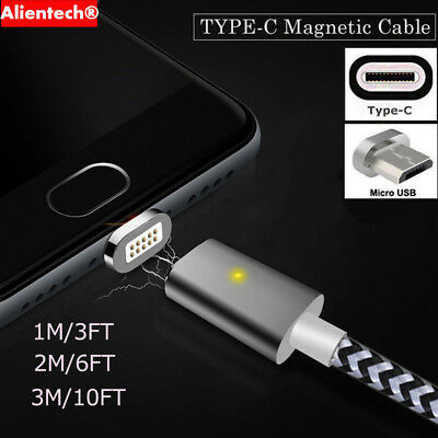$ CDN5.76 • Buy 1M 2M 3M Magnetic Type-C Micro USB Fast Charger Cable For Samsung Galaxy S8 Plus