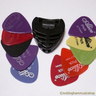 $ CDN10.37 • Buy Guitar Pick Holder +10 Mixed Nylon Plectrums Smooth Matt And Relief Picks New