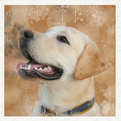 Labrador, Watercolour Splatter, Fabric Quilting |  Sewing | Craft Panel • 7.45£