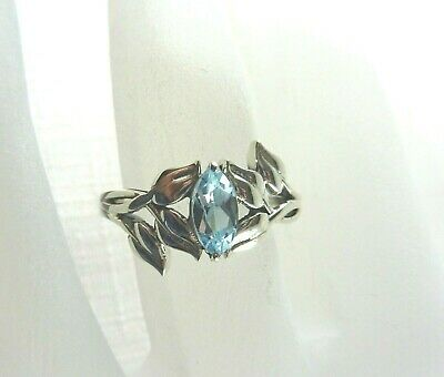 AU53.99 • Buy 0.65ct  Natural Marquise Shaped Sky Blue Topaz 925 Sterling Silver Ring