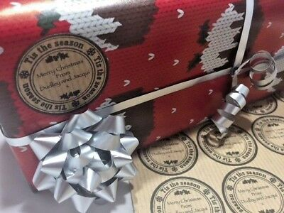 Personalised 35 Christmas Gift Tags Present Stickers, Kraft Labels,Self Adhesive • 2.25£