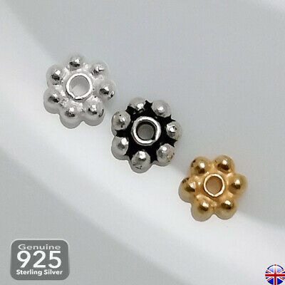 £5.44 • Buy 10x 925 Ag Sterling Silver TINY DAISY 3-4mm Spacer Beads Jewellery Making _240
