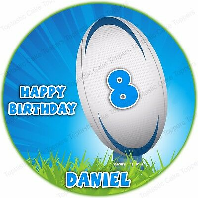 £4.65 • Buy Personalised Rugby Ball Sport Round Edible Icing Birthday Party Cake Topper