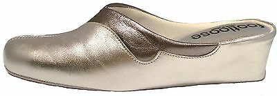 £37.95 • Buy Wedge Leather Spanish Slippers 2 Tone Silver Steel Cushionedfootloose By Relax