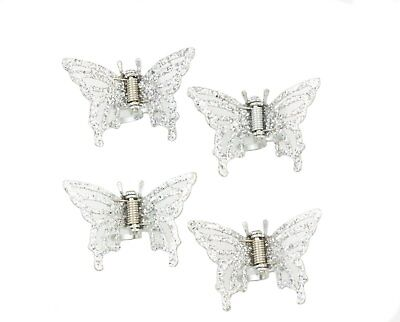 £6.95 • Buy Set Of 4 Butterfly Metal Hair Claw Clips Silver Tone With  Sparkly Glitter Top