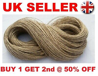 50M 2ply Jute Twine Sisal String Soft Natural Brown Burlap Rustic Cord  Hessian • 2.59£