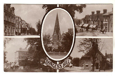 Burgess Hill - Multiview Real Photo Postcard C1910 • 9£