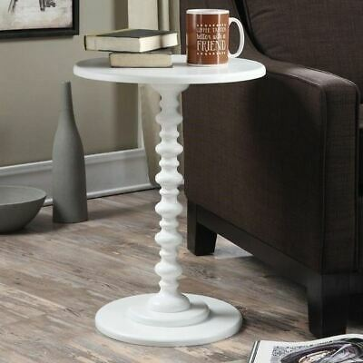 $67.90 • Buy White Painted Spindle Accent Table Round Top End Side Pedestal Wooden Furniture