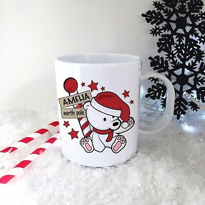 Personalised Red Polar Bear Plastic Mug Children's Christmas Gift Cup Any Name • 10.99£