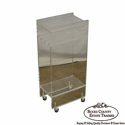 $365 • Buy Mid Century Modern Lucite Side Table Magazine Stand On Castors