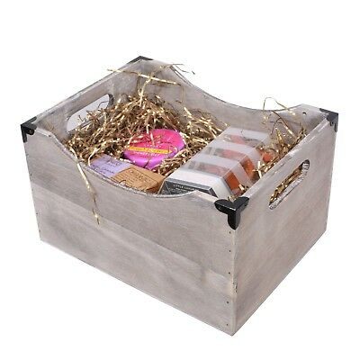 Metal Corners Vintage Wooden Crate Home Storage Shelf Box Christmas Gift Hamper • 7.59£
