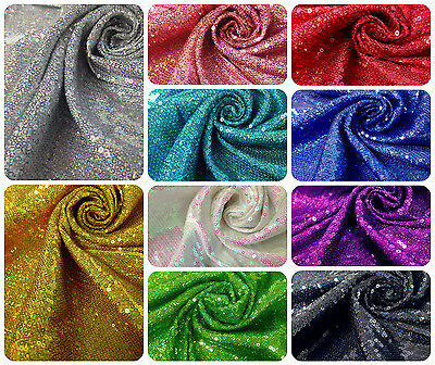 $14.99 • Buy 3mm Micro Mini Holographic Sequins On Stretch Polyester Spandex Fabric -52  Wide