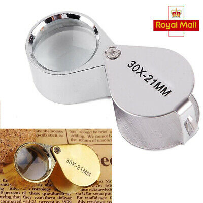Pocket 30X Magnifier Jeweller Jewelry Eye Glass 21mm Loop Lens Magnifying Loupe • 2.83£