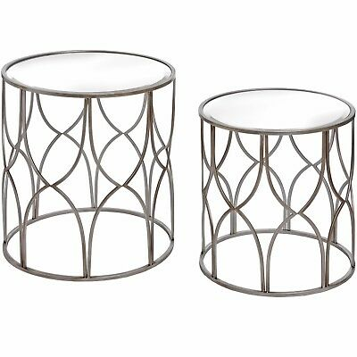 Contemporary Silver Glass Nest Set Of 2 Round Lattice Detail Side End Tables • 169£