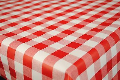 Plain Red White Gingham Check Pvc Vinyl Material Table Cloth Protector Checked • 11.20£