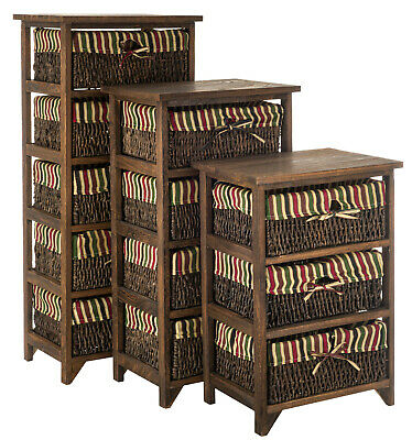 Wicker Basket Storage Unit Chic Bedside Table Cabinet Chest Drawers Maize Table • 52.90£