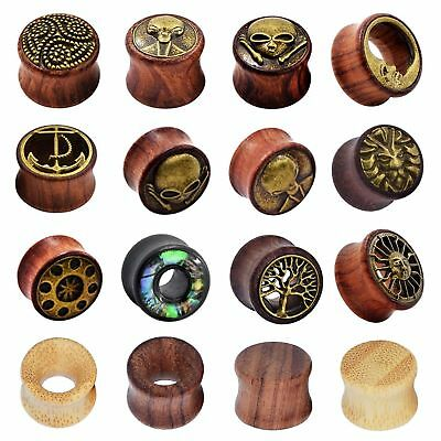 $5.02 • Buy 2PCS Natural Wood Ear Gauges Double Flared Ear Plugs Flesh Tunnels US STOCK