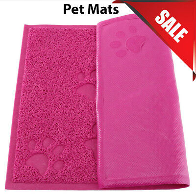 Pink Square PVC Placemat Dog Puppy Pet Feeding Cat Dish Bowl Food Mat Wipe Clean • 4.99£