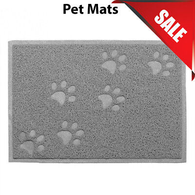 Grey Square PVC Placemat Dog Puppy Pet Feeding Cat Bowl Food Mat Wipe Clean • 4.99£