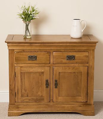 French Rustic Solid Oak Wood Small Sideboard Storage Cabinet Cupboard Furniture • 309£