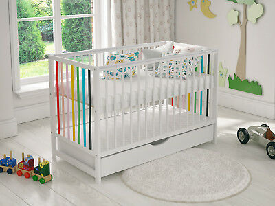 £149.99 • Buy Baby Cot Bed 120x60cm With Covered Drawer & FREE Deluxe Aloe Vera Mattress
