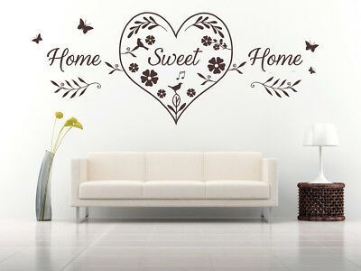 Home Sweet Home Heart Quote, Wall Art Stickers Decal Murals, Bedroom, Lounge • 20.99£