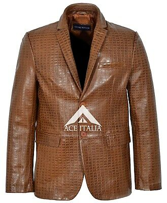 Mens Leather Blazer Tan Croc Classic Formal Coat Genuine Leather Blazer 3450 • 130.49£