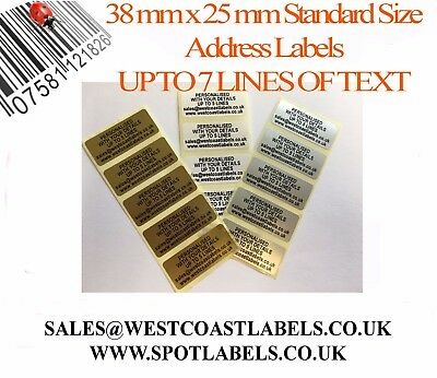 £2.95 • Buy Personalised Gold/ Silver/ White Pre Printed Standard Size Sticky Address Labels
