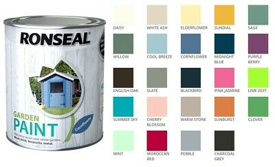 Ronseal Outdoor Garden Paint - For Exterior Wood Metal Stone Brick - All Colours • 9.01£