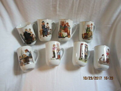 $ CDN29.78 • Buy Set Of 8 Norman Rockwell Museum Coffee Mugs 1982 White China With Gold Rim