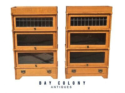 $3500 • Buy Ultra Rare Pair Of 3/4 Sized Arts & Crafts Leaded Glass Door Barrister Bookcases