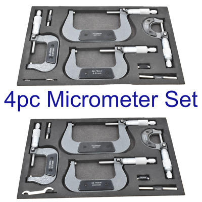 4 Pce Engineers Outside Micrometer Set 0-100mm 0.01mm High Accuracy Micrometre