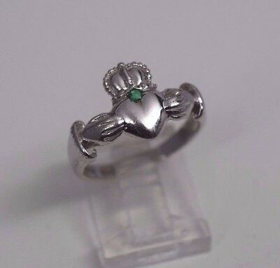 $325 • Buy  14K White Gold Claddagh Ring With Emerald, Size 7.5