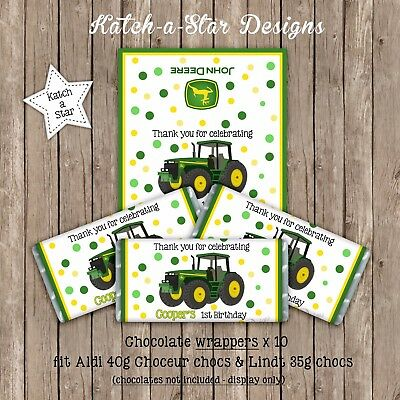 AU9.50 • Buy Tractor John Deere Birthday Party Personalised Chocolate Wrappers X 10