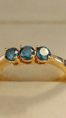 Iliana 18ct Gold Blue Teal Ring Size O1/2, 3.6g • 350£