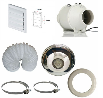 £64.95 • Buy Powerful Inline Bathroom Extractor Fan Kit With Timer  & LED Light