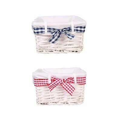 £10.99 • Buy Blue/Red Gingham Decorated Storage Shelf Wicker Basket Gift Hampers Toys Collect
