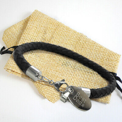 £9.99 • Buy Mens Black Leather Bracelet With Engraved Charm / Personalised Id Free Gift Bag