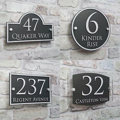 Modern House Address Plaque Door Number Signs Name Plates Glass Effect Acrylic • 9.99£