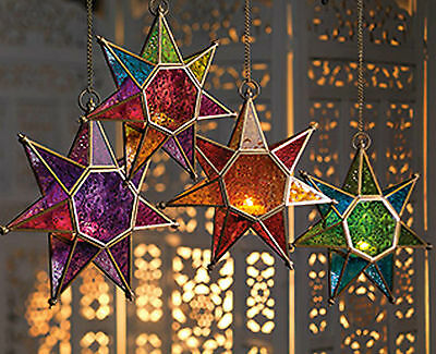 Hanging Star Glass Lantern Tea Light Holder Choice Of 4 Colours-25cm • 18.96$
