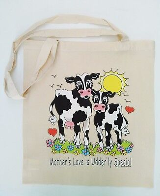 £4.95 • Buy S04 Funny Cow Print Mother's Love Is Udderly Special Cotton Shopping Tote Bag
