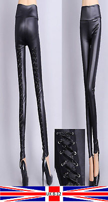 Lace Up Leggings Tie Back Shiny Wet Look Punk Rock Goth Burlesque Adult Teen    • 8.99£