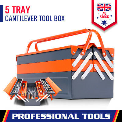 AU39.99 • Buy 5 Tray Tool Storage Cantilever Box Metal Toolbox Mechanic Chest Organiser Drawer